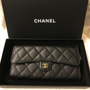 8a2576bebcef Chanel 2017 Chanel Black Caviar with Gold Hardware Classic Flap Long Wallet