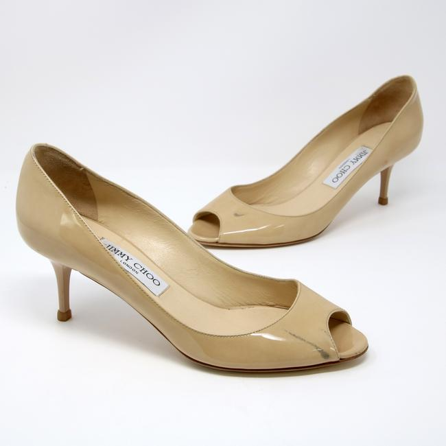 Item - Beige London Signature Nude Patent Leather Open Toe Made In Italy Pumps Size US 8 Regular (M, B)