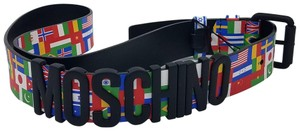 Moschino White, black multicolor leather Moschino Couture belt