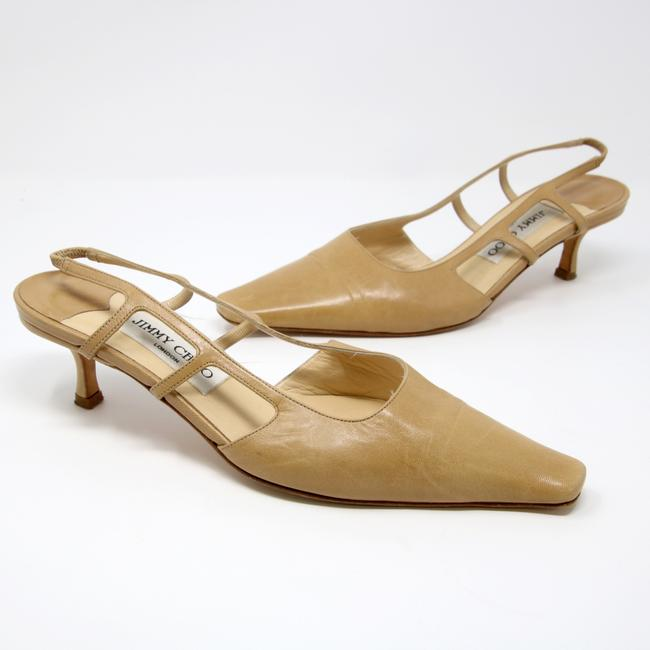 Item - Beige Signature Leather Ankle Strap Pointy Heels B Pumps Size US 7.5 Regular (M, B)