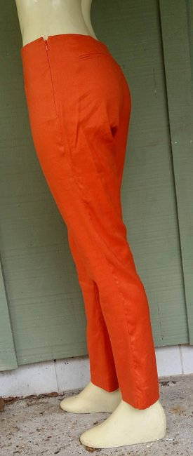 Randy Kemper Linen Blend Side Zip Ankle Skinny Pants Orange