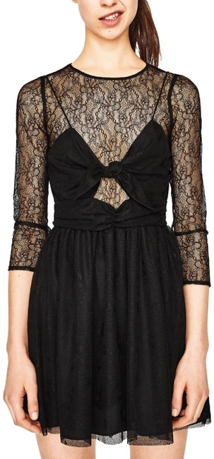 Zara Black Sheer Lace and Bow Cocktail Dress Size 12 (L) Zara Black Sheer Lace and Bow Cocktail Dress Size 12 (L) Image 1