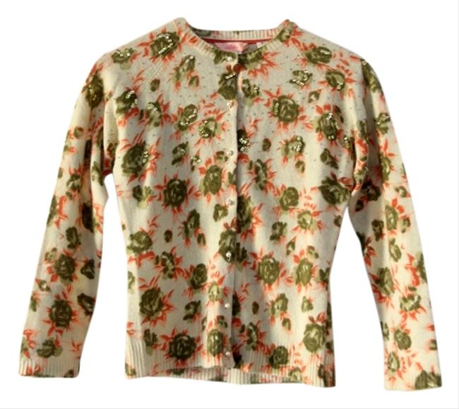 Whistles Sequin Floral Angora Lambswool Cardigan