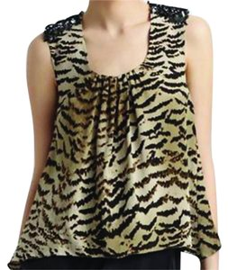 Madison Marcus Silk Sequin Embellished Holiday Top Abstract animal print