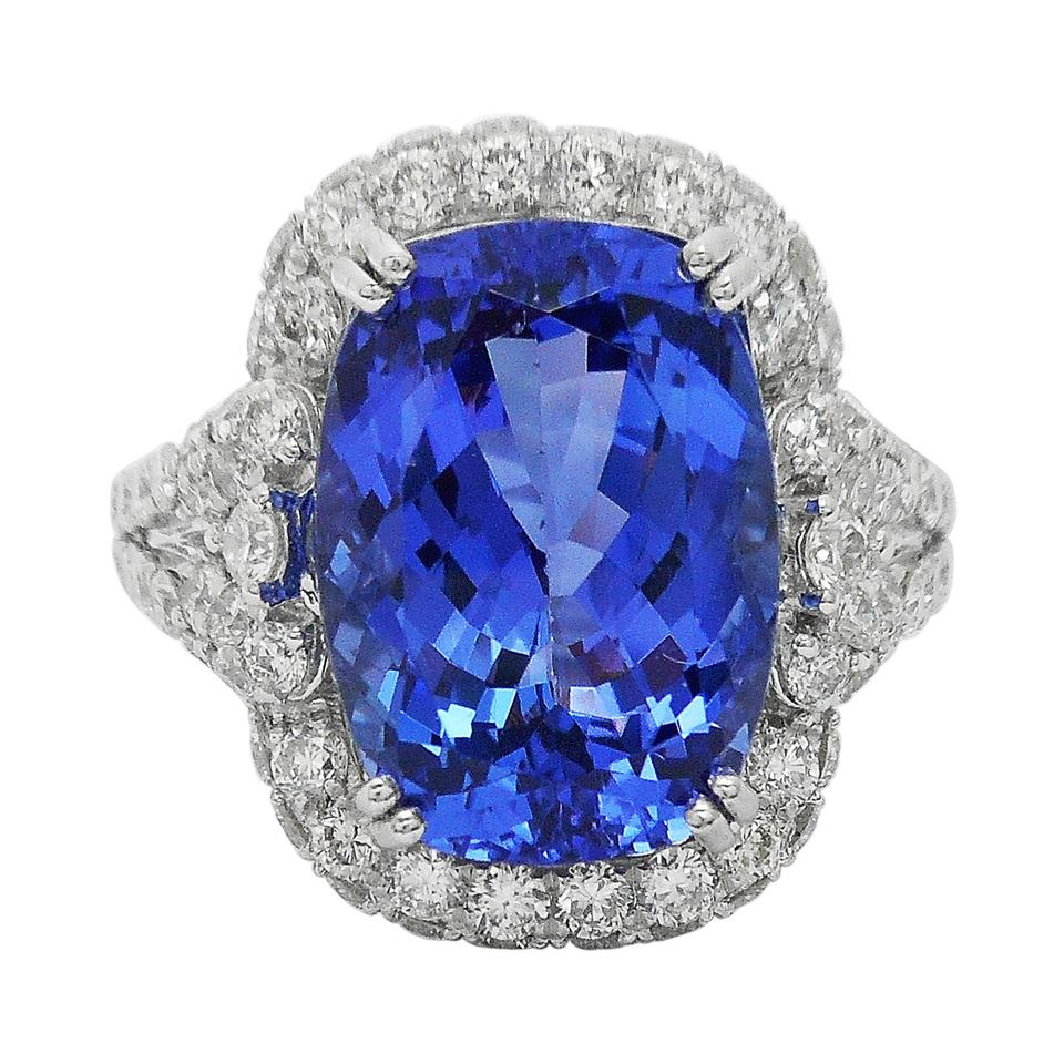 ring blue sapphire tanzanite pin diamonds certified natural cushion gia
