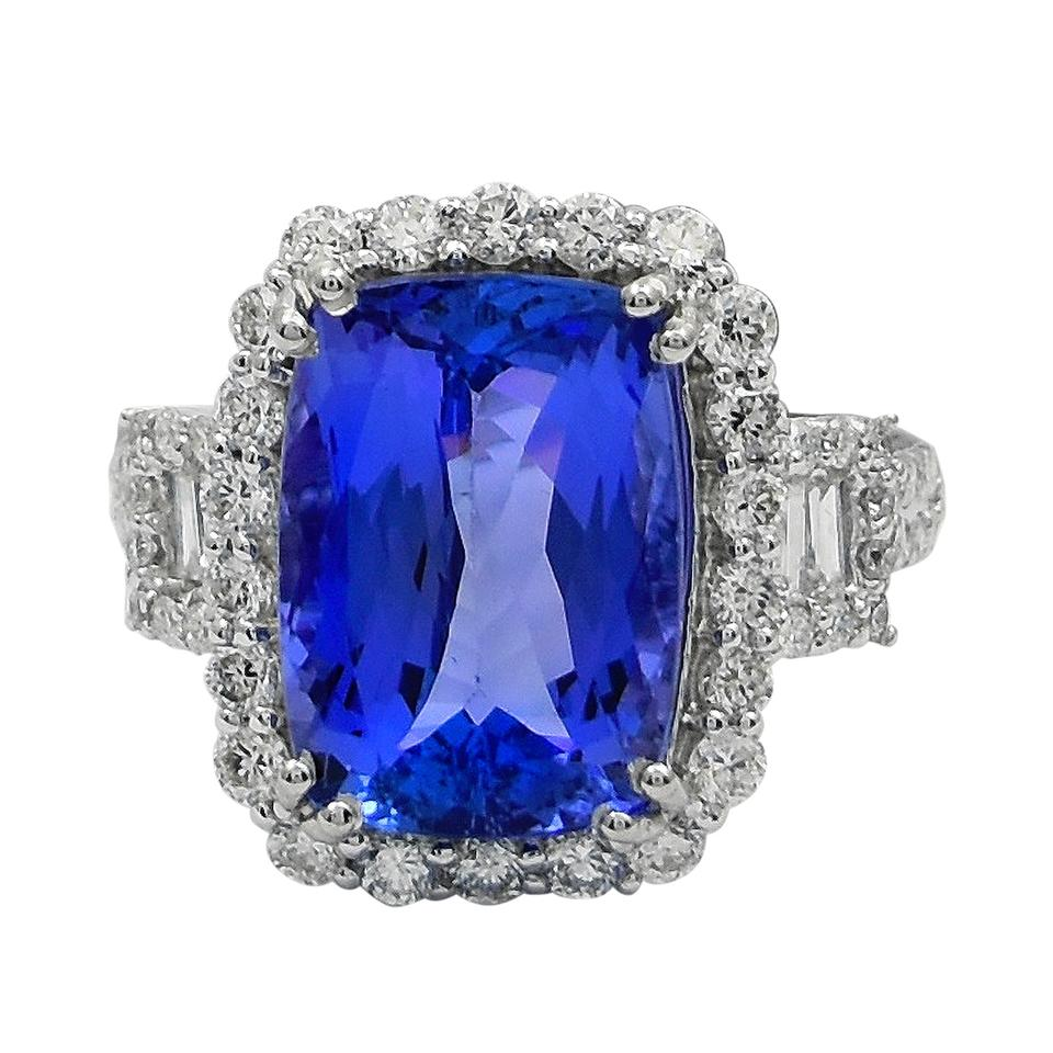ring diamond double engagement certified gia halo white tanzanite gold