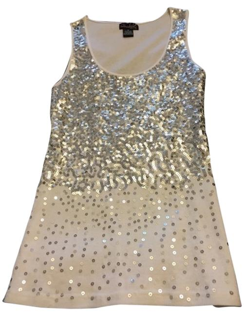 Item - 94522 Questions By White and Silver Sequin Top