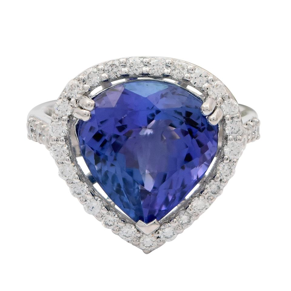 white ring gia halo vaa engagement double gold diamond tanzanite certified
