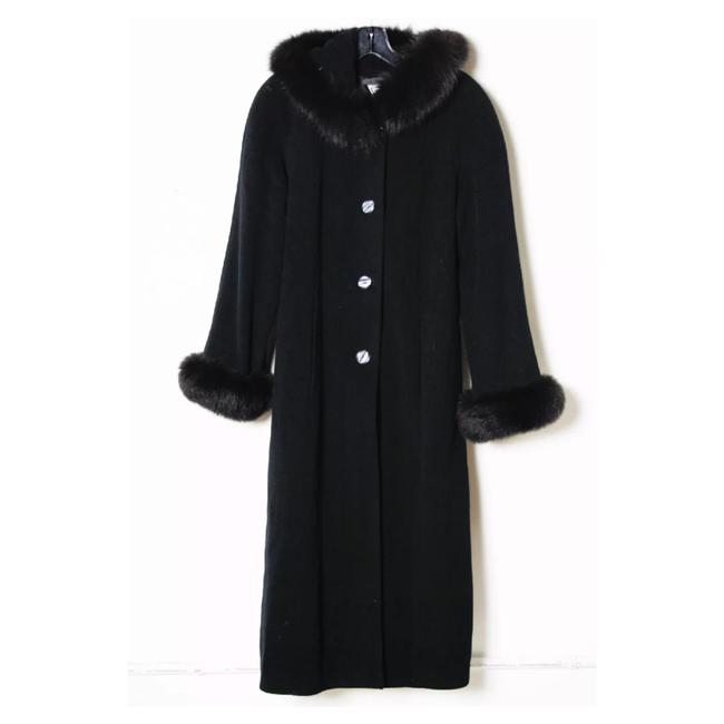 Item - Black Wool Blend Blue Fox Trim Dress Coat Size 10 (M)