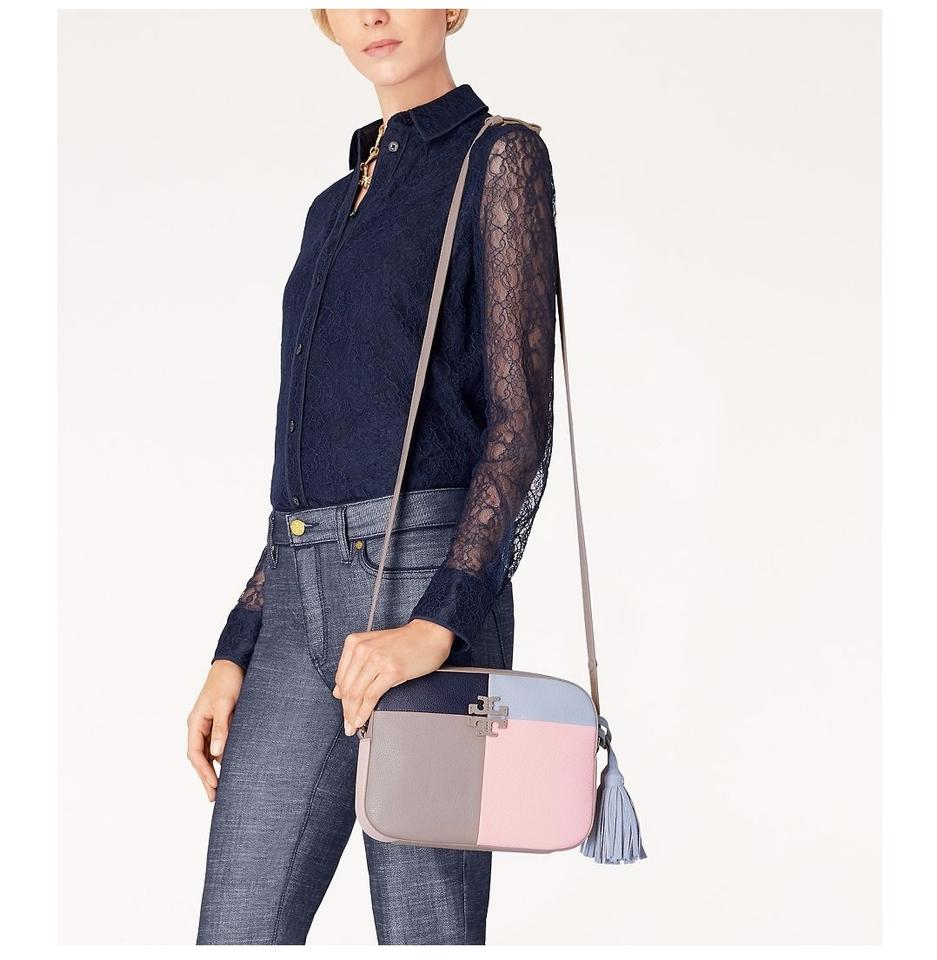16962bc40332 Tory Burch Thea Patchwork Shoulder French Gray Multi Leather Cross ...
