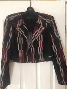 BCBGMAXAZRIA Red and black and silver grey Jacket
