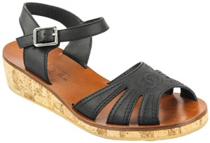 Chanel Cork Wedge Leather Black Sandals