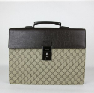 Gucci Gg Brown/Beige Coated Canvas Satchel in Brown