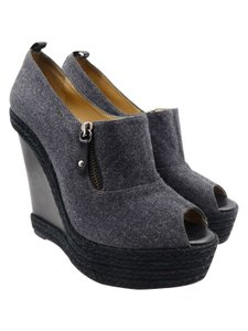 Christian Louboutin Espadrille Peep Toe Wool Knit Grey Wedges