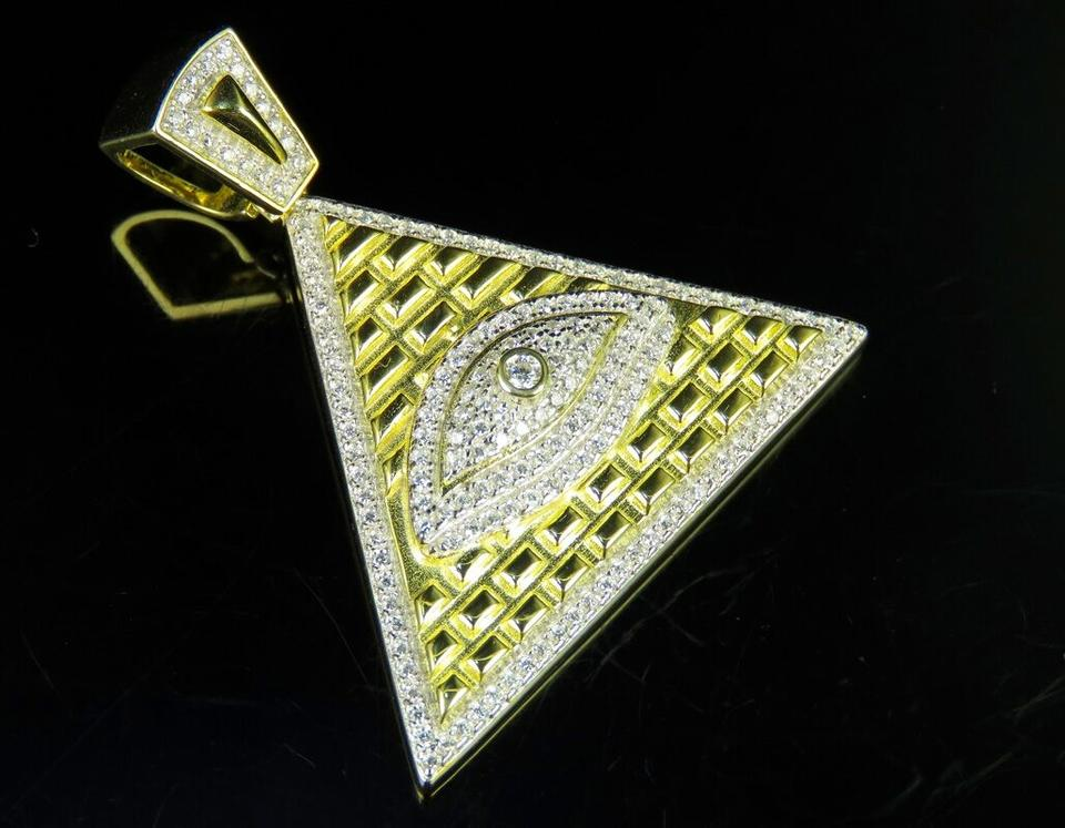 Jewelry unlimited yellow gold finish simulated diamond all seeing jewelry unlimited yellow gold finish simulated diamond all seeing eye pendant charm 15 mozeypictures Images