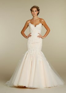 Jim Hjelm Ivory Oyster Lace Tulle 8214 Traditional Wedding Dress Size 8 M 39 Off Retail