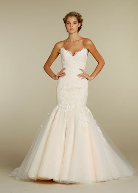 Jim Hjelm Ivory/Oyster Lace/Tulle 8214 Traditional Wedding Dress Size 8 (M) Jim Hjelm Ivory/Oyster Lace/Tulle 8214 Traditional Wedding Dress Size 8 (M) Image 1
