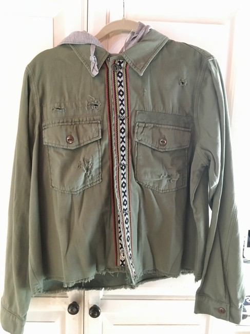 Item - Green Cropped and Distressed Army Hooded Jacket Size 12 (L)