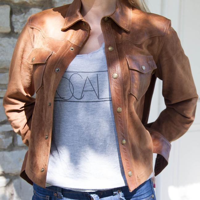Item - Brown Leather Suede Western Style Jacket Medium Button-down Top Size 8 (M)