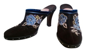 Cole Haan Clog Beaded Applique Studded Dark Chocolate Brown with Blue accents Mules