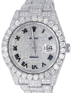 Rolex Datejust II Full Iced Out 41MM 116300 Pave Dial Diamond Watch 18.75 Ct