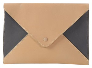 Hermès Tan Blue Hr.l0824.06 Two-tone Color-blocking Beige Clutch