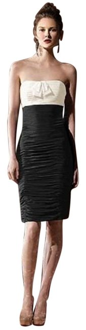 Dessy Ivory/Black 8107 Short Night Out Dress Size 10 (M) Dessy Ivory/Black 8107 Short Night Out Dress Size 10 (M) Image 1