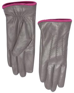 Marciano Soft Leather Two Tone Gray + Fuchsia Trim Fleece Lined Gloves M/L