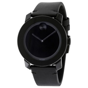 Movado Movado Bold Black Museum Dial Black Leather Unisex Watch