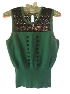 Plenty by Tracy Reese Sleeveless Vintage Lace Top Jade