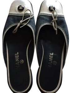 Chanel Blue Denim with leather . Flats