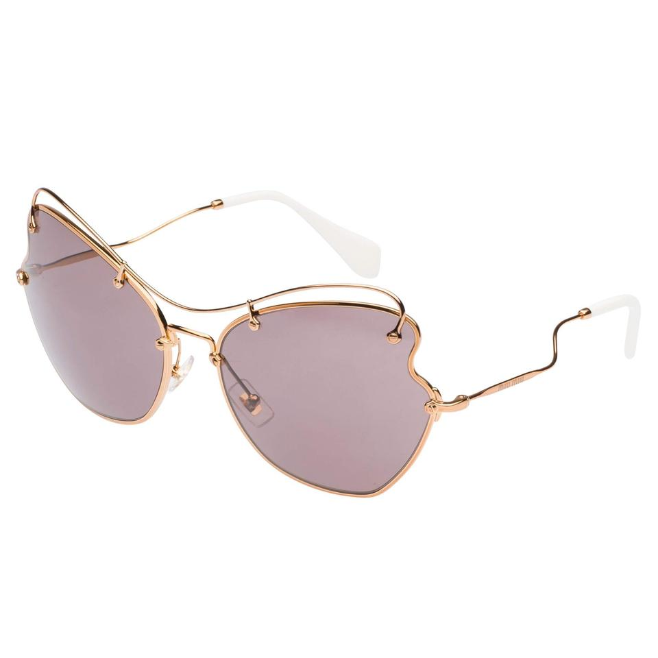 6127d689d613 Miu Miu Gold Brown New Smu56r Scenique Oversized Sunglasses - Tradesy