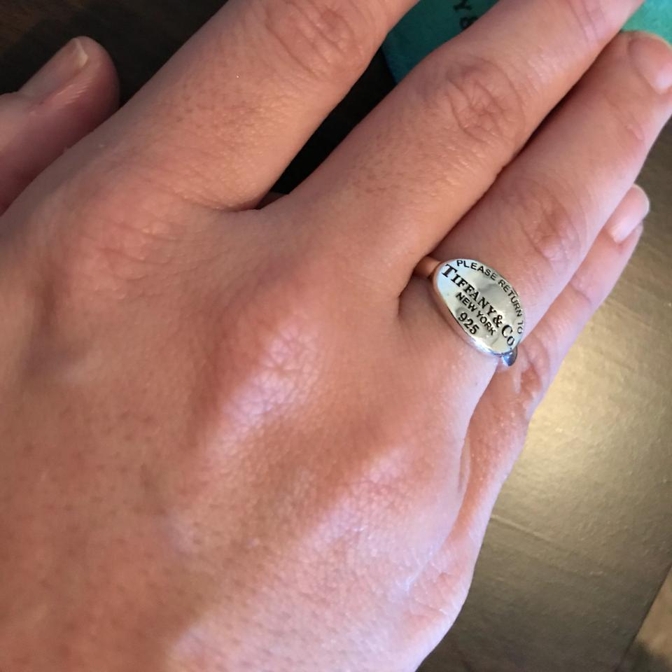 Tiffany & Co. Sterling Silver Please Return To Oval Signet Ring ...