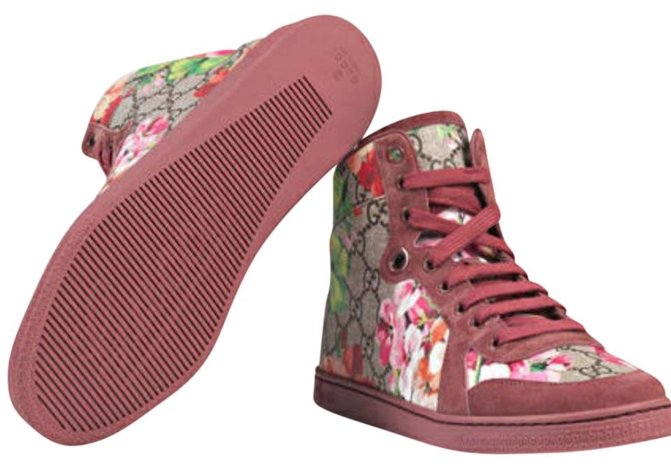 54b473f7fb5 Gucci Pink Nib  Gg Supreme Blooms High Tops Sneakers Size EU 38 ...