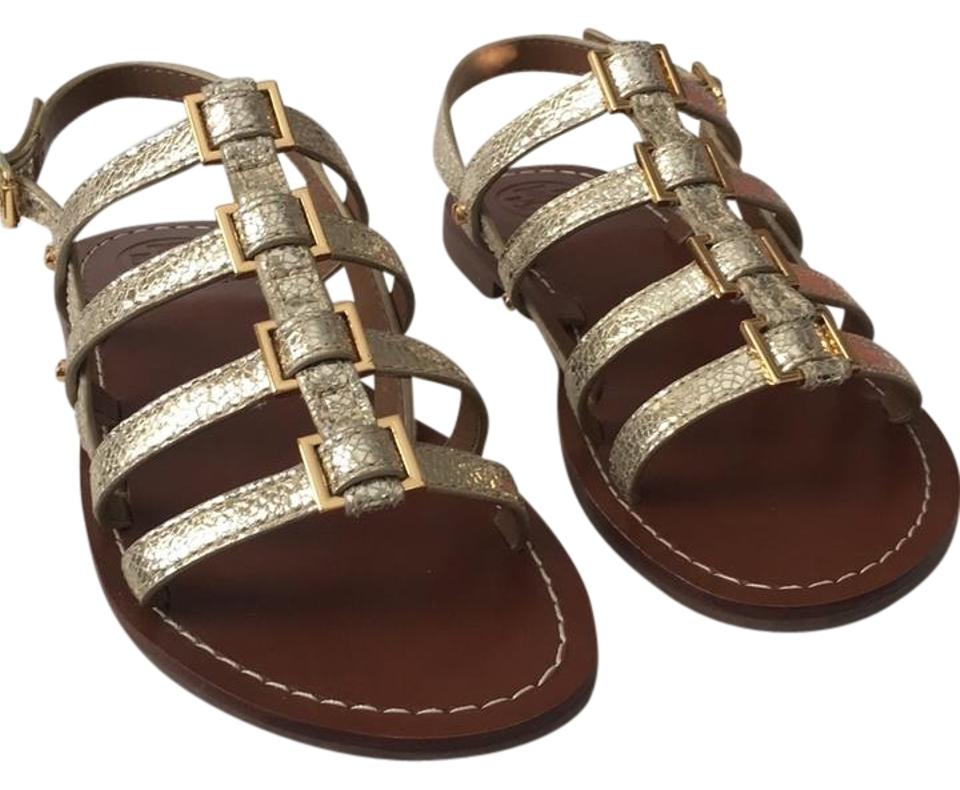 7b90ea8c3 Tory Burch Spark Gold New Reggie Flat Mirror Craquelee Sandals Size ...