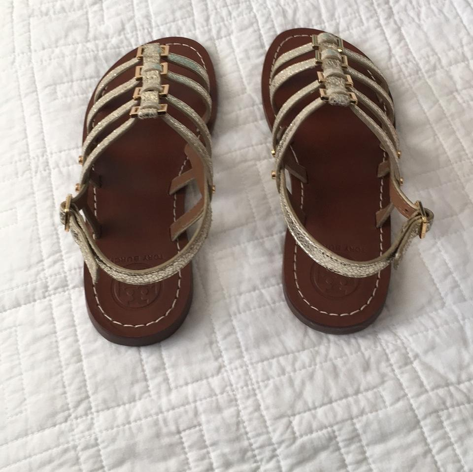 712d53789 Tory Burch Spark Gold New Reggie Flat Mirror Craquelee Sandals Size US 6  Regular (M