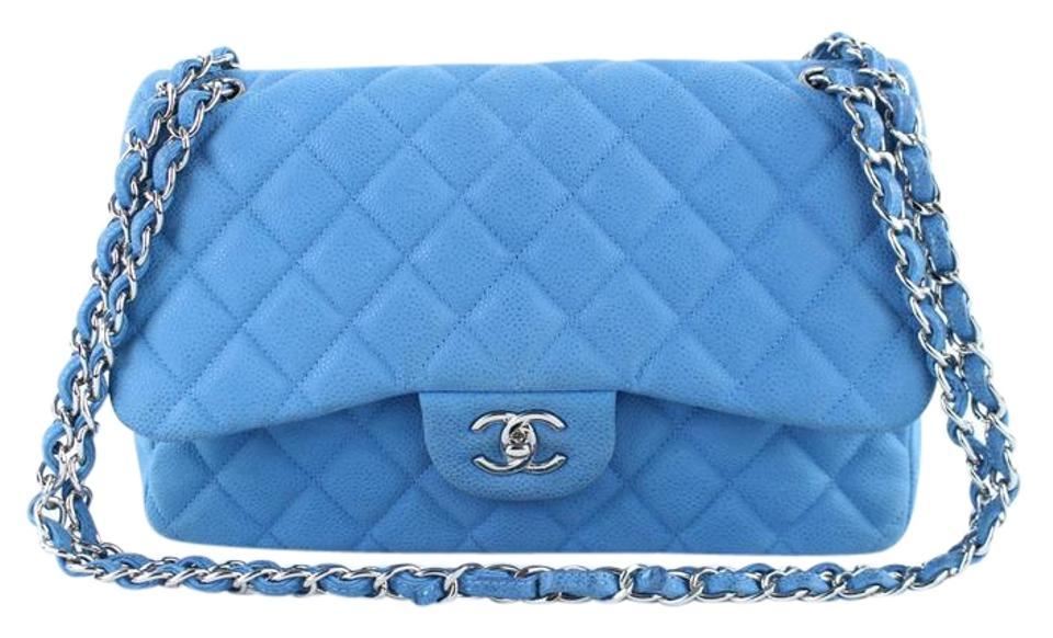 26bdcaafba83 Chanel Classic Flap Quilted Matte Caviar Jumbo Double 5ct1020 Blue Leather Shoulder  Bag