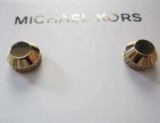 Michael Kors SET-Gold Tone Astor Stud Earrings & Pave Lariat Necklace