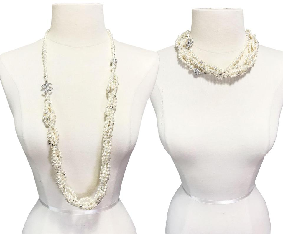 d49b6c6dcd76 Chanel Brand New Silver Crystal Ball Twisted Multi Strand Faux Pearl  Necklace ...