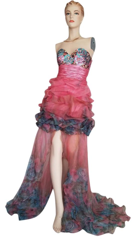 Jovani Pink Green Low Pageant Prom Long Formal Dress Size 2 (XS ...