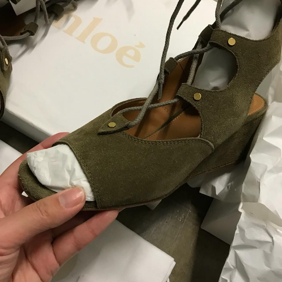 7b1c6ee0322 Chloé Dark Green New W  Tag 2016 Foster Suede Lace-up Gladiator ...