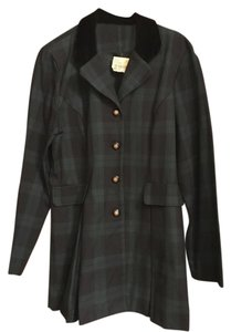 Melissa Harper Two Pc Melissa Harper Black Watch Plaid Skirt Suit Black Velvet Collar