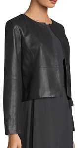 Eileen Fisher Biker Moto Lambskin Leather Bolero GRAPHITE Jacket