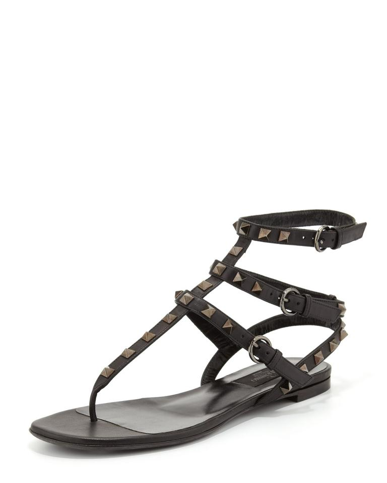 41d02d9ed94 Valentino Black Rockstud Noir Sandals Size US 5.5 Regular (M