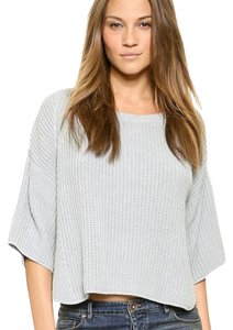 aaf4defb1ccd Free People Rayanne Shaker 3 4 Sleeve Knit Boxy Cropped Baby Blue ...