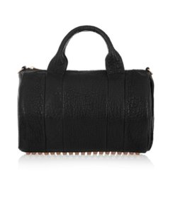 Alexander Wang Studded Marmont Embellished Pebbled Leather Satchel in Black