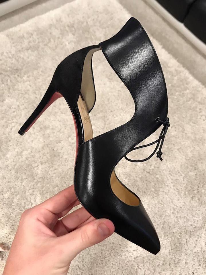 497acfbd519 Christian Louboutin Black Ferme Rouge 85 Leather Lace Up Heel Pumps Size EU  35.5 (Approx. US 5.5) Regular (M, B) 54% off retail