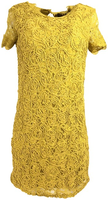 Item - Yellow Mustard Lace Mid-length Formal Dress Size 4 (S)