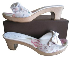 Louis Vuitton Satin Rainbow Limited Edition White / Multicolor, Rainbow, Floral Mules