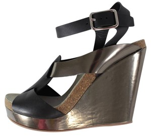 Jil Sander Strappy Wedge Heels Black, Metallic Bronze Sandals